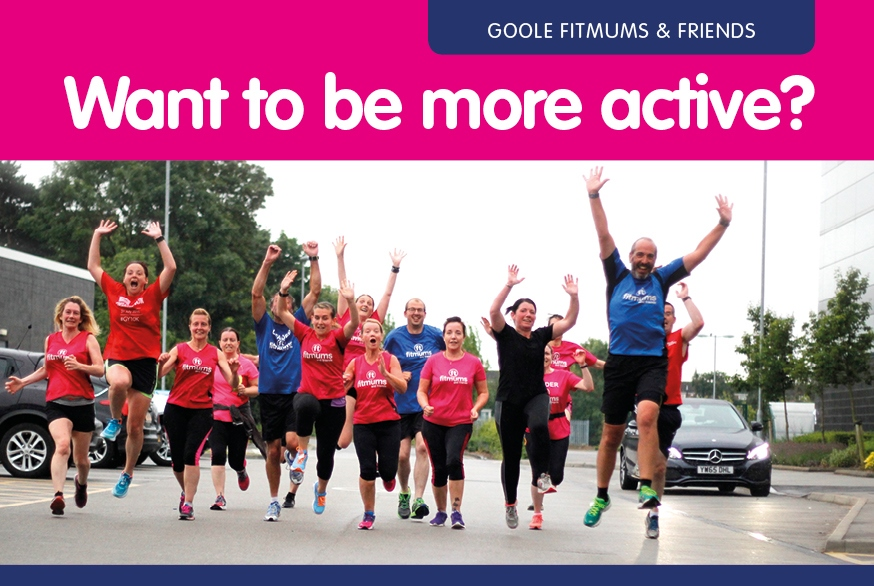 "Image of men and women in blue and pink Fitmums vests running and jumping, titled ""Want to be more active?"""
