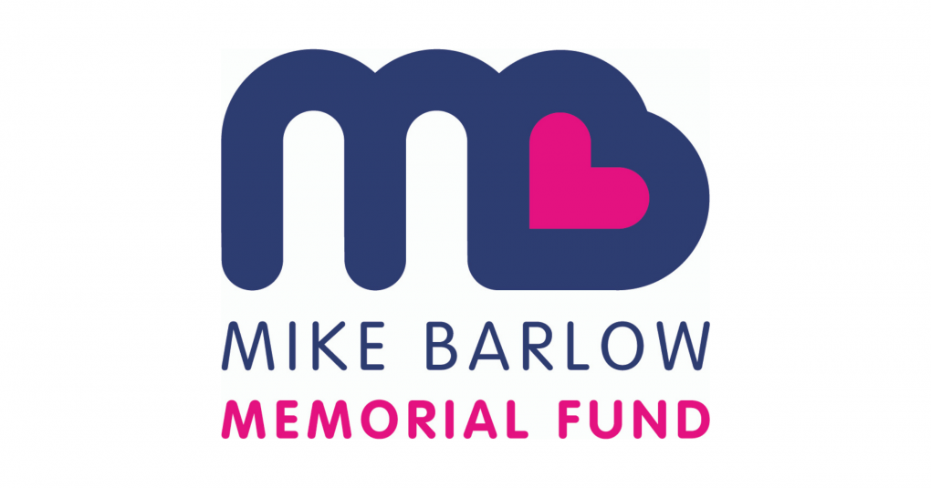 Mike Barlow Memorial Fund logo in blue with a pink heart